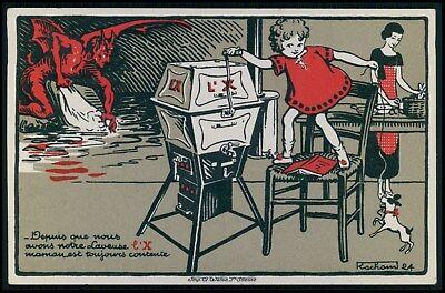 Devils Washer - advertising Manual washing Machine L'X against devil handwash c1910s postcard