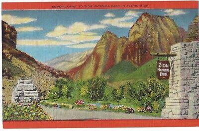 Entrance to Zion National Park, Scenic Utah, Unused Vintage Linen