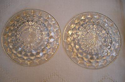 """Vintage Depression Jeannette Glass Cubist 6"""" Plates ~ Set of 2 ~"""