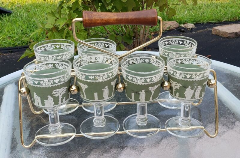 Set of 7 Jeanette Wedgewood Green Greek Hellenic Cordial Barware Glasses Caddie