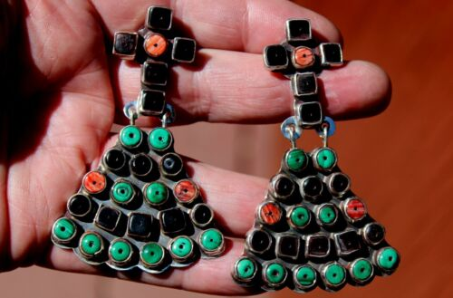 Huge Old OSCAR BETZ Sterling Silver Turquoise & Spiny Oyster Shell Earrings