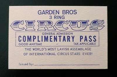 Vintage Garden Bros 3 Ring Circus General Admission Complimentary Pass