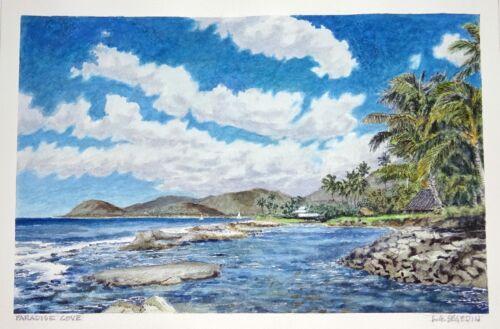 """Original Hawaii Watercolor Painting """"paradise Cove, West Oahu"""" By L Segedin #84"""
