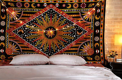Sun Moon Stars Planet Tapestry Bohemian Indian Hippie Dorm Decor Wall - Sun Decorations