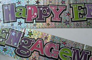 9ft Sparkly Happy Engagement Party Banner Room Decoration Silver Pink Purple