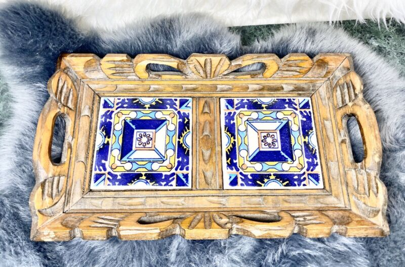 Vintage Mexican 2 Tile Trivet Tray Wood Frame Mexico Art Blue Serving Carved