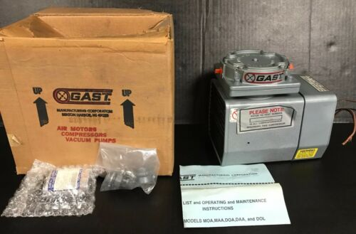 New in Factory Box GAST Vacuum Pump Model DOA-P101-FB, 115/110V, 3.3/4.8 Amps
