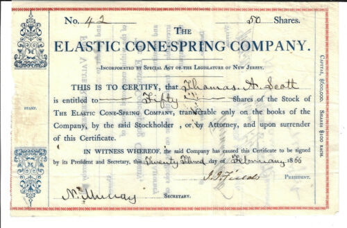 NEW JERSEY1866 The Elastic Cone Spring Company Stock Certificate Thomas A Scott