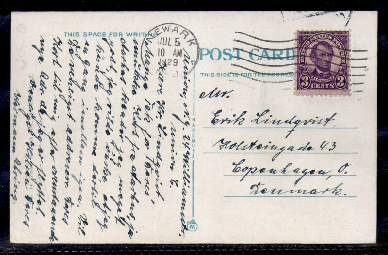 1929 Newark, New Jersey to Copenhagen, Denmark - 635 - Military Park Postcard