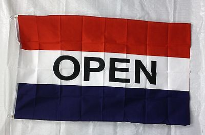 Open Flag 3x5 Red White Blue Banner Store Concession Business Advertising