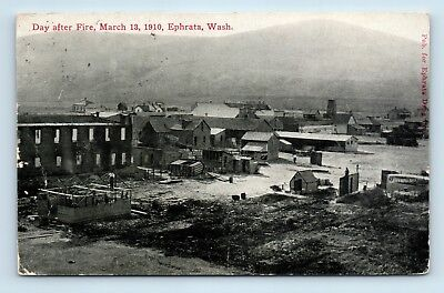 Ephrata, WA - RARE AIR VIEW - DAY AFTER 1910 FIRE DISASTER - POSTCARD - D1