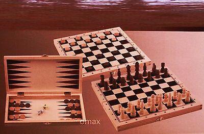 Schach Dame Backgammon inkl. Spielfiguren Holz Spielbrett Neu OVP online kaufen