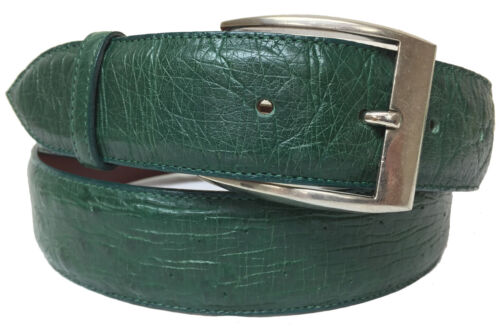 Mens, Green, Real, Smooth, Ostrich, Skin, Leather, Western, Exotic, Cowboy, Rodeo, Belt,