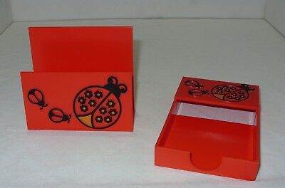 Vintage 2 piece Desk Office Accessory Memo Mail Set Red Orange Ladybug - 2 Piece Set Desk
