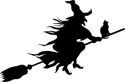 Window Wall vehicle Display Halloween Decal Vinyl Sticker Witch Cat Broomstick a ()