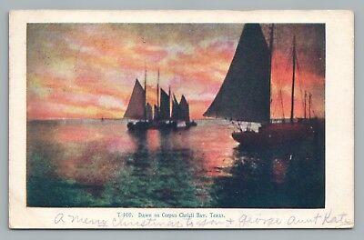 Dawn on Corpus Christi Bay TEXAS Rare Antique SAILING Sailboat Postcard 1908