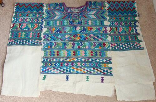 Vintage San Juan Cotzal Huipil Guatemala Textile Poncho Birds