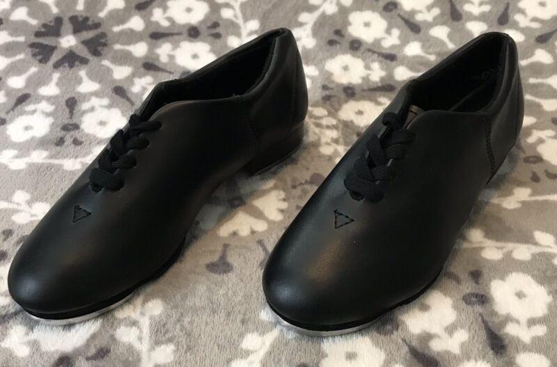 Capezio Girls Black Lace-up Tap Shoes CG17C Size 2.5 NEW