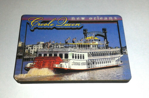 """Creole Queen NEW ORLEANS Wood Fridge Magnet Riverboat (3x2"""")"""
