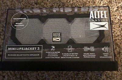 NEW Altec Lansing Mini Life Jacket 3 Rugged WaterProof Bluetooth Speaker W/Mount