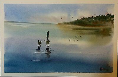 ' Evening  dog walk   ' beach Landscape - Original watercolour painting