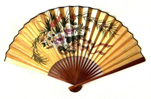 """Vintage HANGING CHINESE WALL FAN 28"""" X 50"""" Hand-Painted Golden with Wood Slats"""