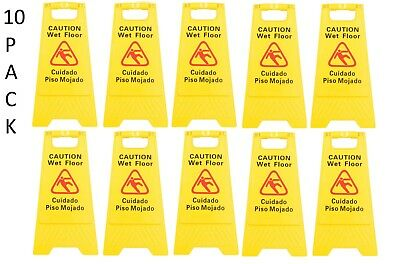 10 Pack Restaurant Caution Wet Mop Bucket Floor Yellow Folding Sign Commercial