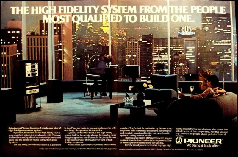 PIONEER - SYSCOM COMPONENT SYSTEM - 2 PAGES VINTAGE 1981 AD - ADVERTISING