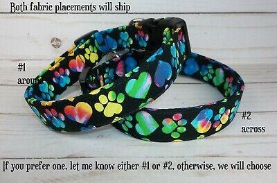 Happy Hearts & Paws Terri's Dog Collar custom made adjustable Tie Dye fabric Heart Adjustable Collar