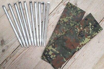 flecktarn Original Bundeswehr Stange Aluminium Hering BW Zeltbesteck mit Tasche