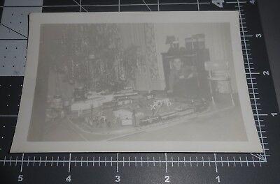Boy w/ ELABORATE Train Set Town Model Railroad Christmas Gift Vintage PHOTO