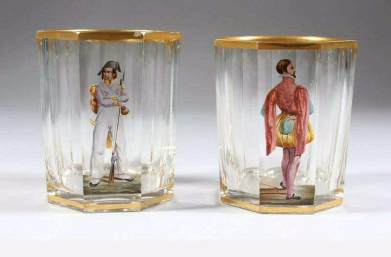 A Pair Of Antique Bohemian Glass Beakers Each With Mail Figure