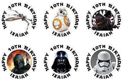 30 Star Wars Darth Vader Sticker Lollipop Label Party 1.5 inch Personalize
