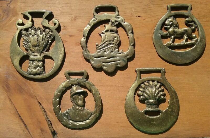 """ENGLAND 5 ea. HORSE BRASS Medallions, 2.5"""" to 3.5"""""""