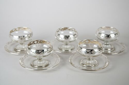 Art Nouveau Sterling Silver Crystal Champagne Sherbet Glasses & Underplates Set