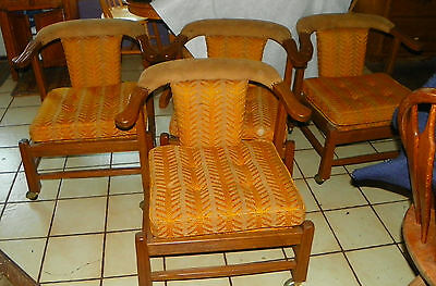 Set of 4 Ranch Oak Armchairs / Game Chairs  (DC44)