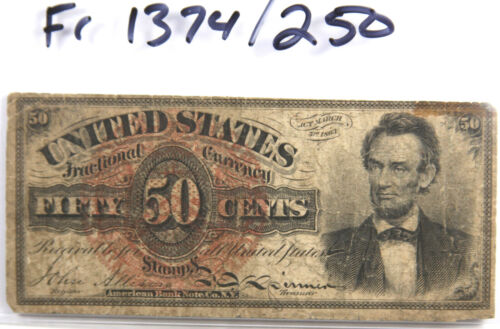 FR 1374 Fractional Currency 4th Series Lincoln 50 Cents 50c