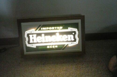 "Rare Vintage Heineken Beer Light Up Beer Sign 12"" x 7"" x 2 1/2"" Green & White"