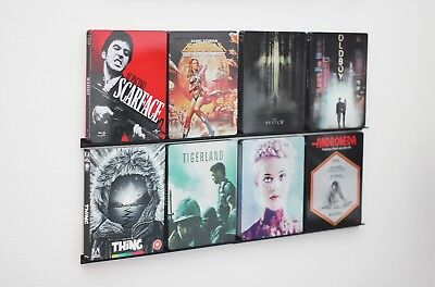 Wand-display Regal (DVD/Bluray Leiste, Wandhalter, Display Regal (für 8 Filme) Deko, Steelbook)