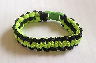 Kawasaki NINJA Colours Paracord Bracelet Neon Green & Black (B0101)