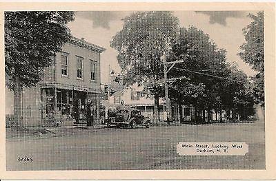 Main Street Looking West Durham NY Postcard Gas Pumps Mobilgas