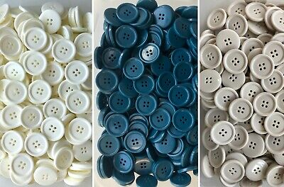 25mm 40L White Ivory Cream Blue 4 Hole Polished Buttons Buttons (CH3 CH4 CH5)