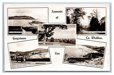 IRELAND COUNTY WICKLOW GREYSTONES MULTI VIEW REAL PHOTO 16 APR 1954 TO - Greystones Collection