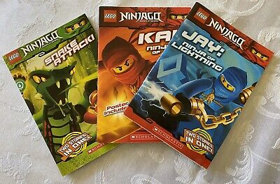 Lot of 3 LEGO NINJAGO Chapter Books Paperback Fiction Kai Jay Zane Snake Attack