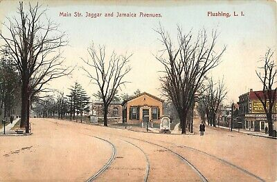 c.1910 Stores Main St. Jaggar & Jamaica Aves. Flushing NY post card (Flushing Stores)