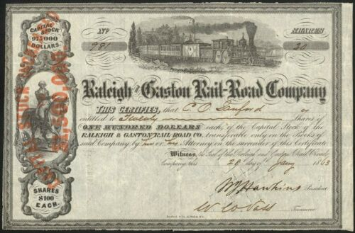 1863 Raleigh & Gaston Rail-Road Company Stock Certificate – Confederate Issue