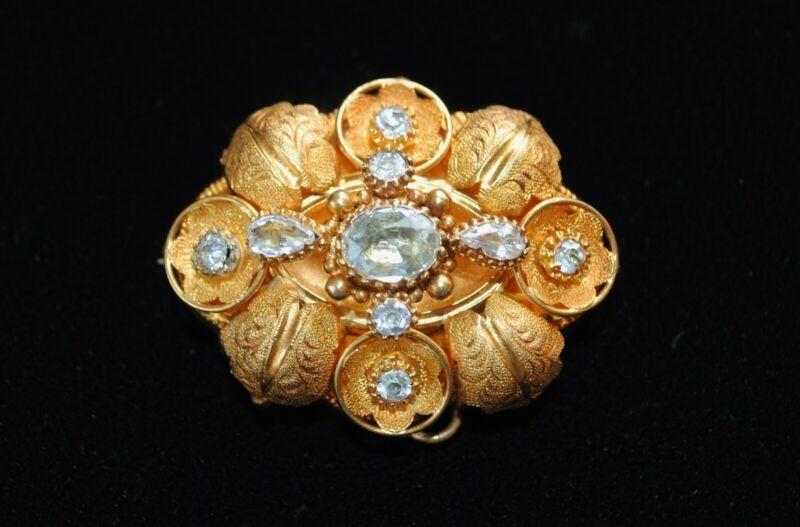 Antique GEORGIAN Gold 15 Kt  Foiled AQUAMARINES Brooch/Pendant/Locket -1830