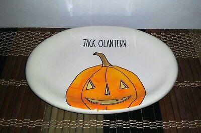 1 Rae Dunn Artisan Collection Jack O'Lantern Pumpkin Halloween Oval Plate New