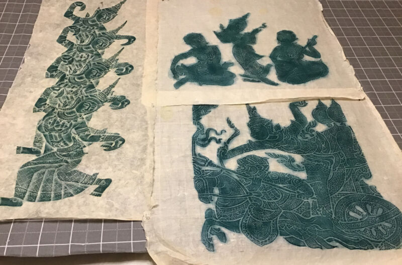 3 THAI TEMPLE RUBBINGS, GREEN ON RICE PAPER