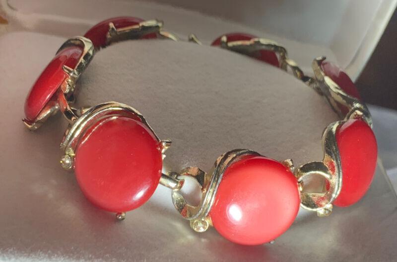 LISNER Red MOONGLOW BRACELET THEROSET Rhinestone Vintage